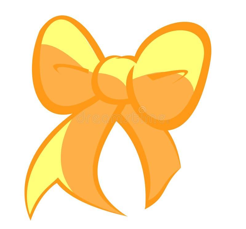 Милый смычок золотых и соломы желтого цвета - светлая версия иллюстрация штока