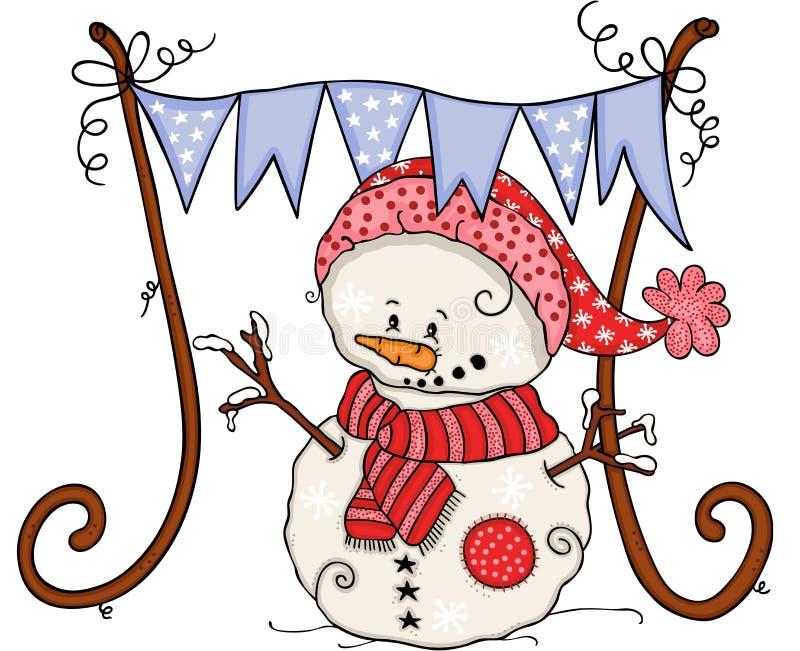 Милый снеговик зимы с партией знамени голубого флага иллюстрация штока
