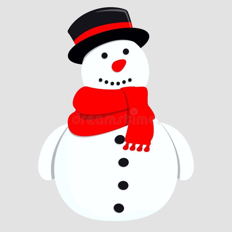Милый снеговик Иллюстрация вектора для поздравительной открытки иллюстрация штока