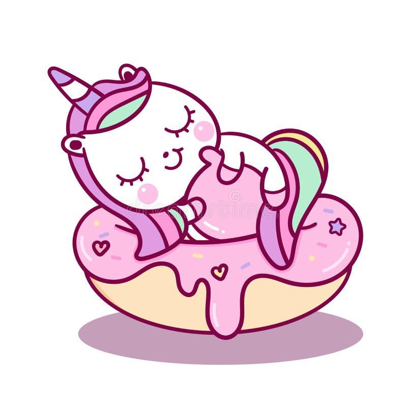 Милый сон вектора единорога на мультфильме для сладкого пастельного цвета мечты, животном пони пирожного Kawaii со звездой, украш бесплатная иллюстрация