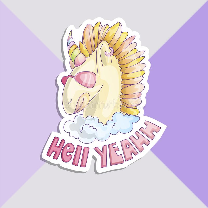 Милый стикер единорога Единорог с розовыми стеклами, в облаке с адом слов да на дне Покрашенная грива рожка и лошади бесплатная иллюстрация