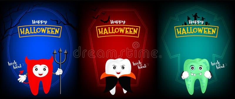 Милый страшный дизайн характера зуба дьявола, Дракула и зомби иллюстрация вектора