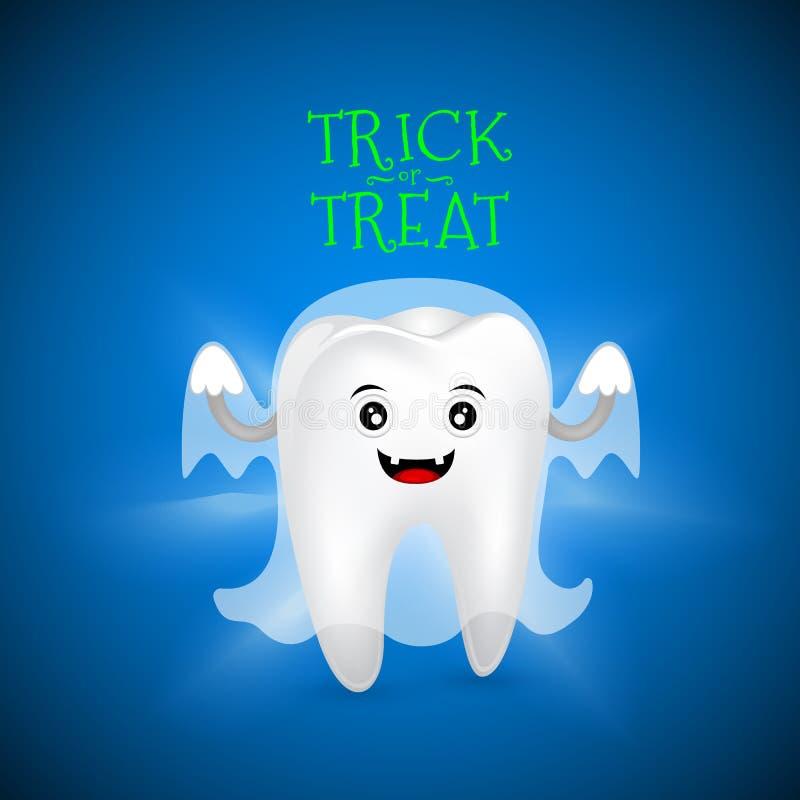 Милый страшный дизайн характера зуба призрака иллюстрация штока