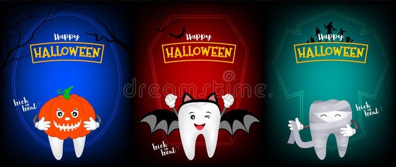 Милый страшный дизайн характера зуба тыквы, летучей мыши и мумии бесплатная иллюстрация