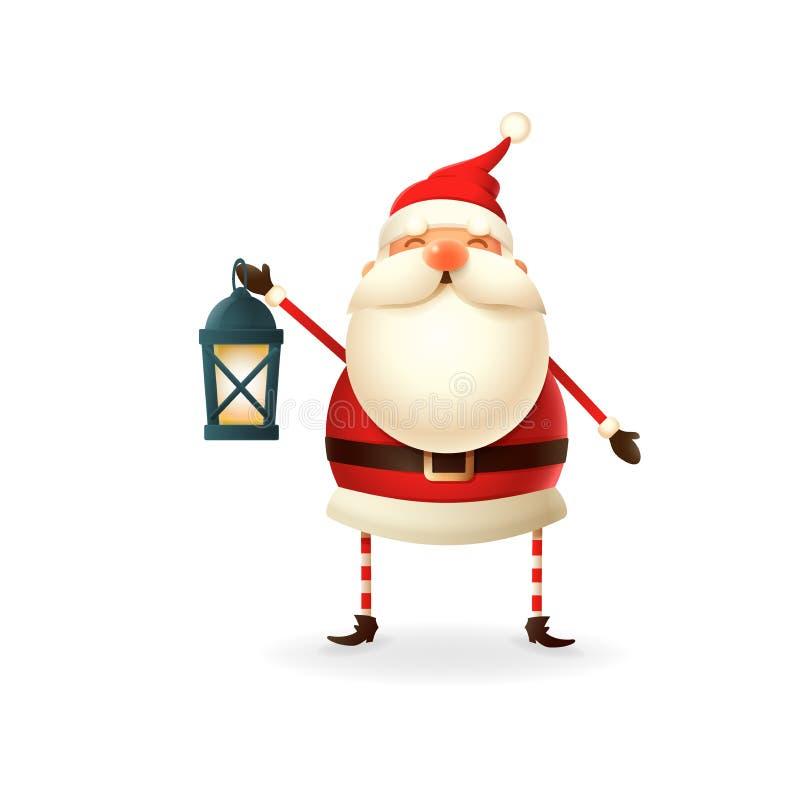 Милый счастливый Санта Клаус с иллюстрацией вектора фонарика бесплатная иллюстрация