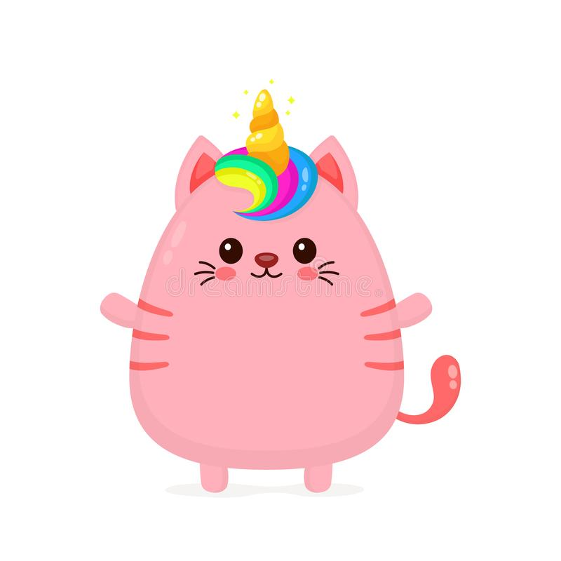 Милый счастливый усмехаясь кот единорога иллюстрация штока