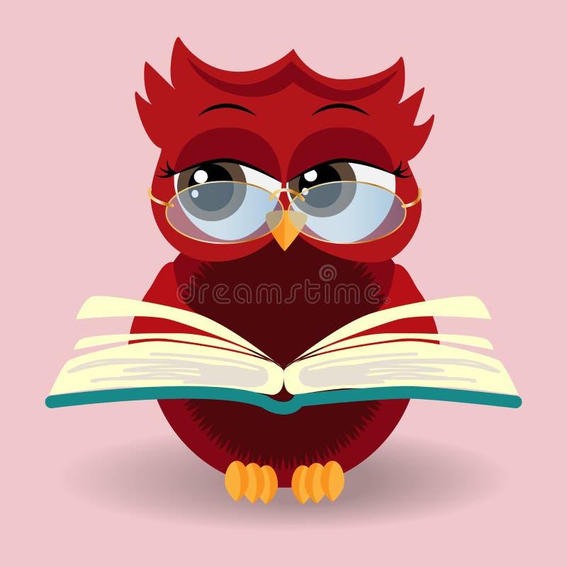 Милый сыч в eyeglasses с крышкой градации сидя на куче книг иллюстрация штока