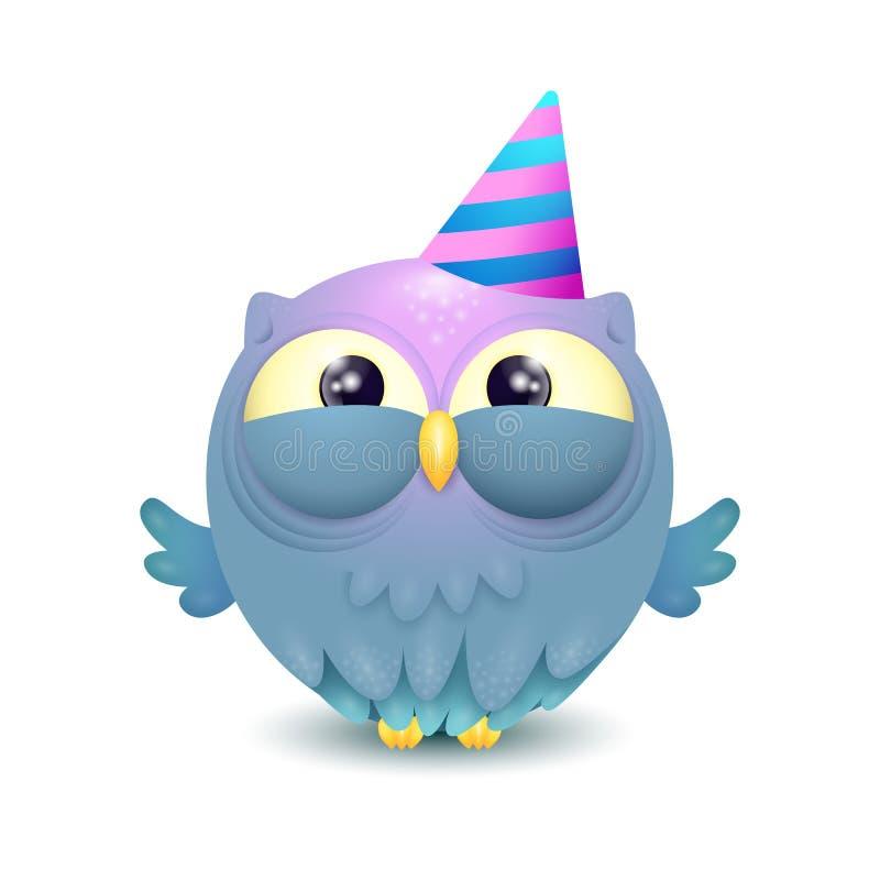 Милый сыч дня рождения со шляпой партии иллюстрация вектора
