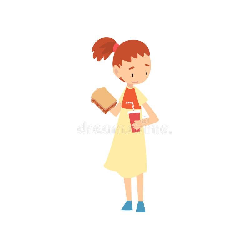 Милый сэндвич удерживания девушки и бумажный стаканчик напитка соды, ребенка наслаждаясь едой иллюстрации вектора фаст-фуда иллюстрация штока