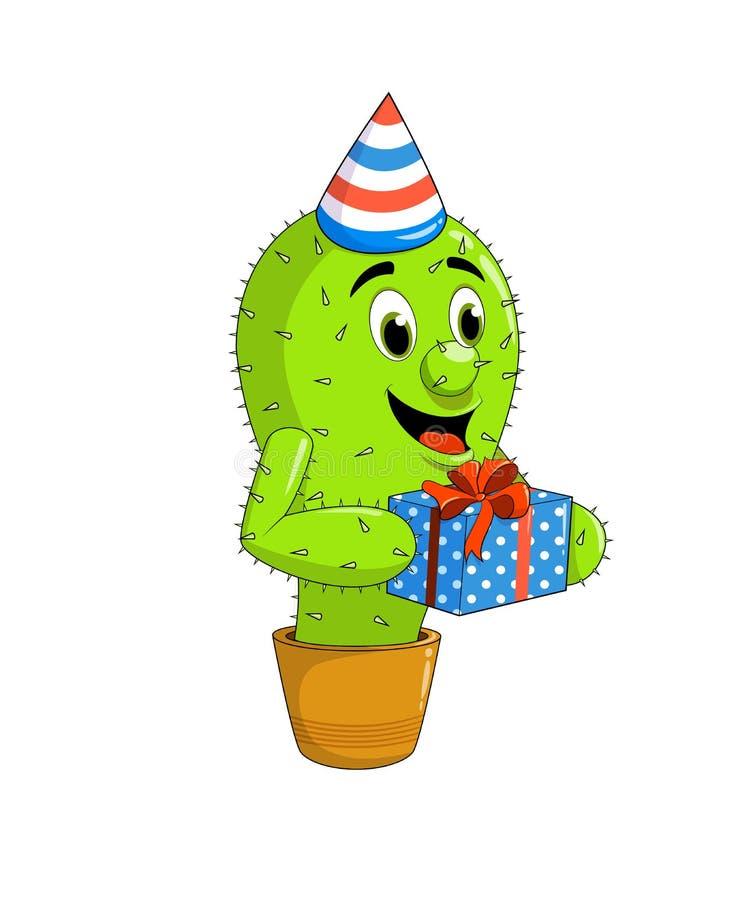 Милый талисман кактуса в удерживании шляпы партии бесплатная иллюстрация