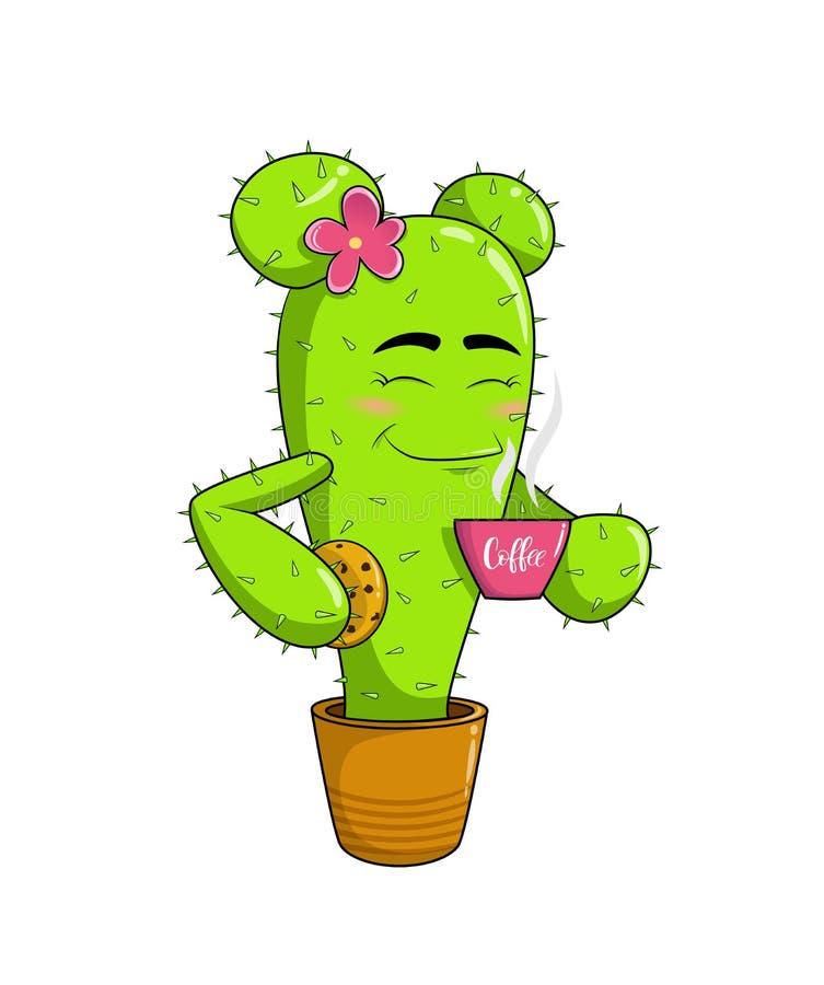 Милый талисман кактуса мультфильма с чашкой кофе и розовым цветком на ее голове иллюстрация штока