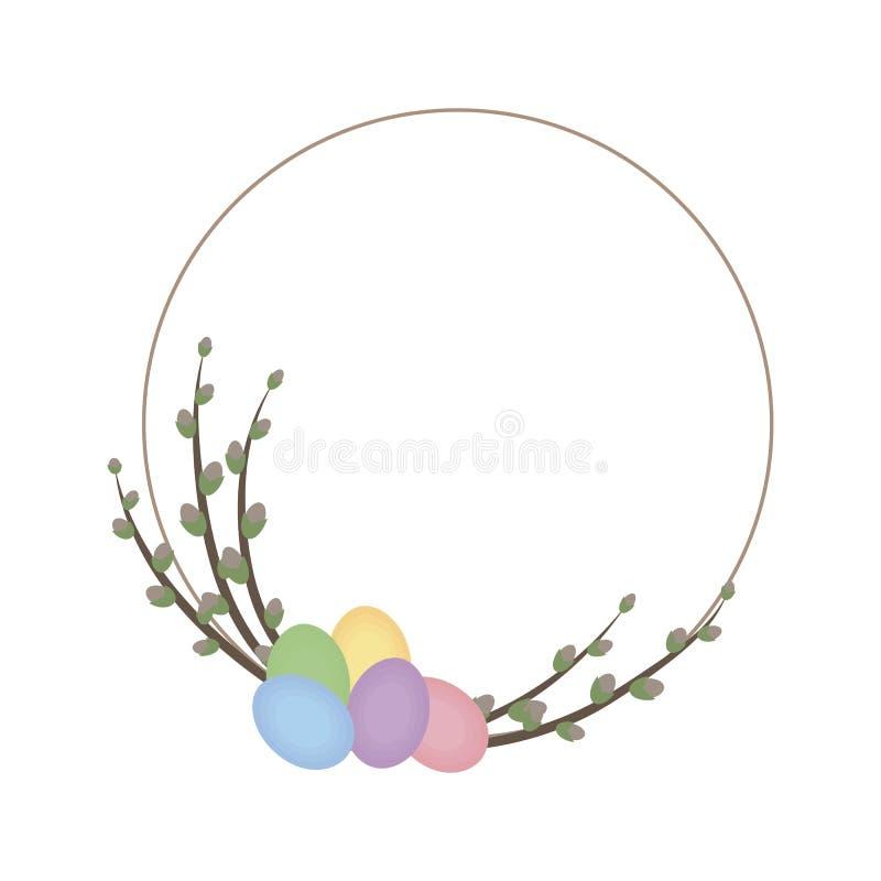 Милый тонкий венок весны при вербы и яичка пасхи пестротканые изолированные на белом векторе предпосылки бесплатная иллюстрация