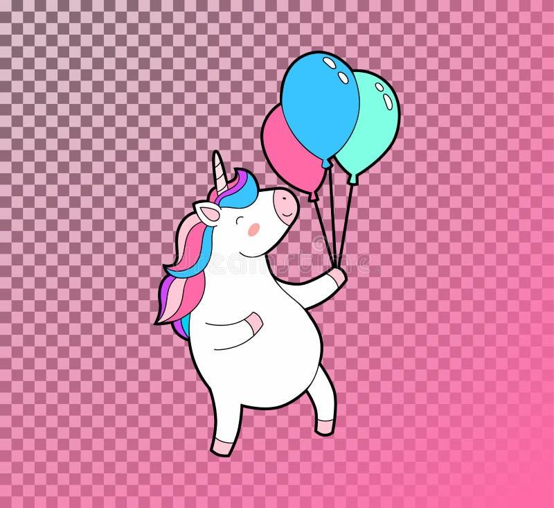 Милый тучный единорог скачет с воздушными шарами в руке Единорог с значком вектора радуги изолированным волосами бесплатная иллюстрация