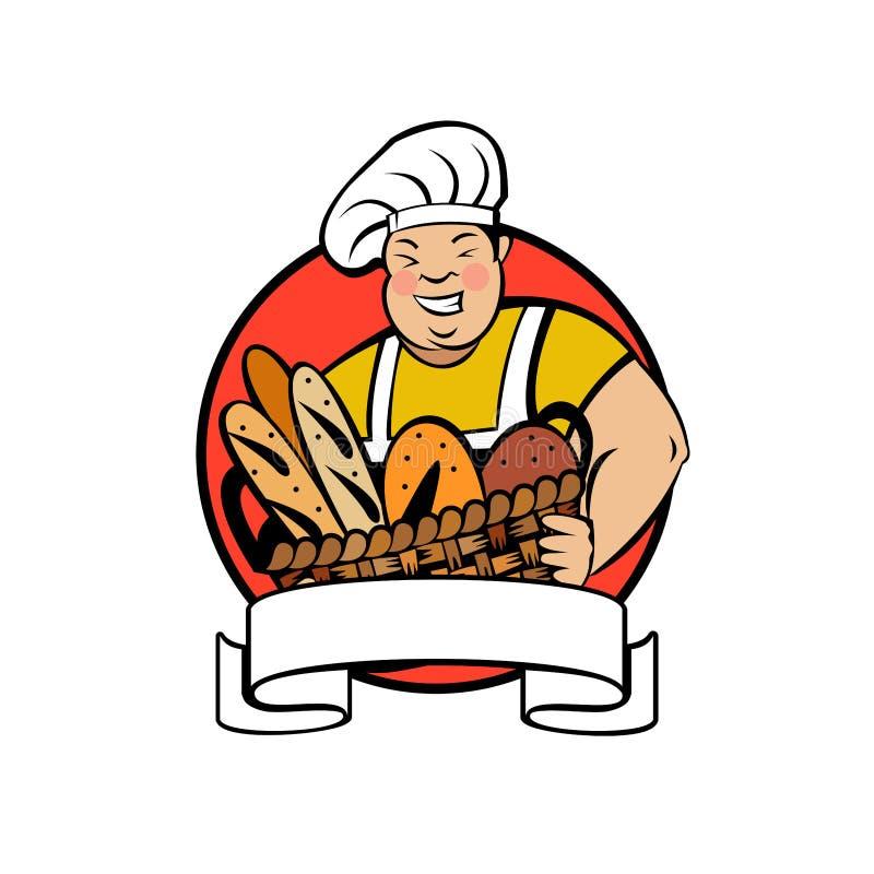 Милый тучный хлебопек с корзиной свежего хлеба Логотип хлебопекарни вектора иллюстрация вектора