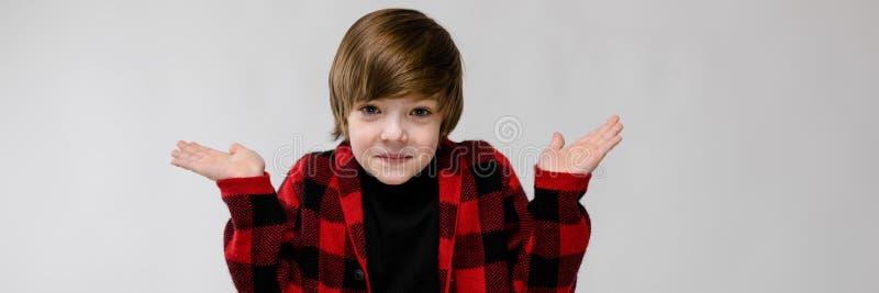 Милый уверенно озадаченный маленький кавказский мальчик в checkered рубашке на серой предпосылке стоковые фотографии rf