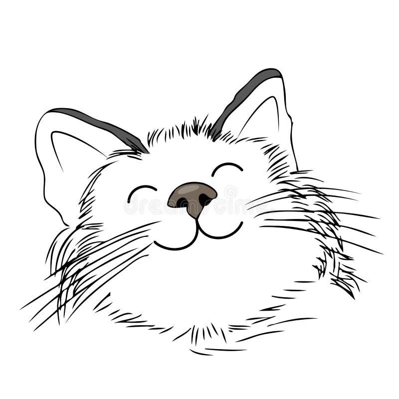 Милый усмехаться кота шаржа Стиль притяжки руки иллюстрация вектора