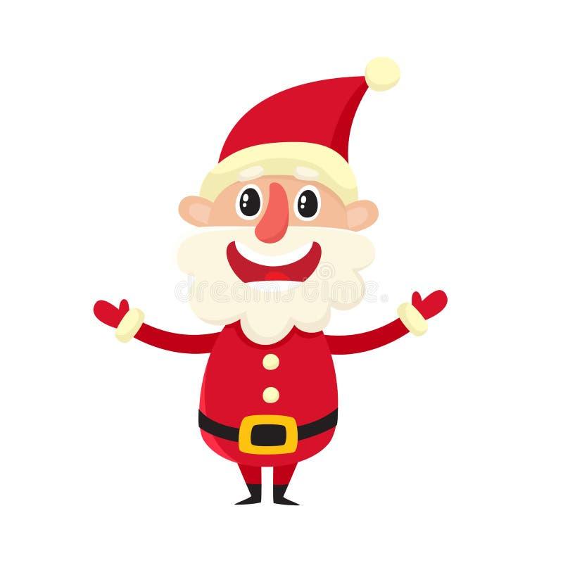 Милый усмехаясь Санта Клаус, иллюстрация вектора мультфильма изолированная на белизне бесплатная иллюстрация
