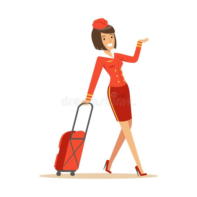 Милый усмехаясь stewardess нося ее багаж иллюстрация штока