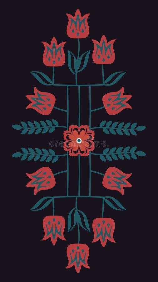 Милый флористический орнамент с деревьями тюльпана и роза на черной предпосылке в векторе Шаблон для вышивки иллюстрация штока