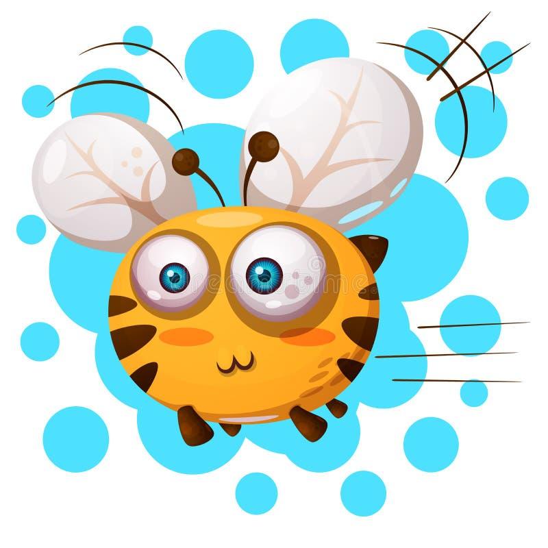 Милый, характеры пчелы пушка командира шаржа его секундомер воина иллюстрации иллюстрация штока