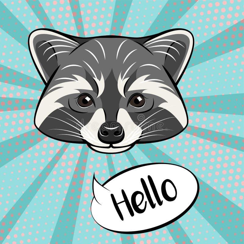 Милый характер енота показывая жест приветствию, говорить здравствуйте!, иллюстрация шаржа иллюстрация вектора