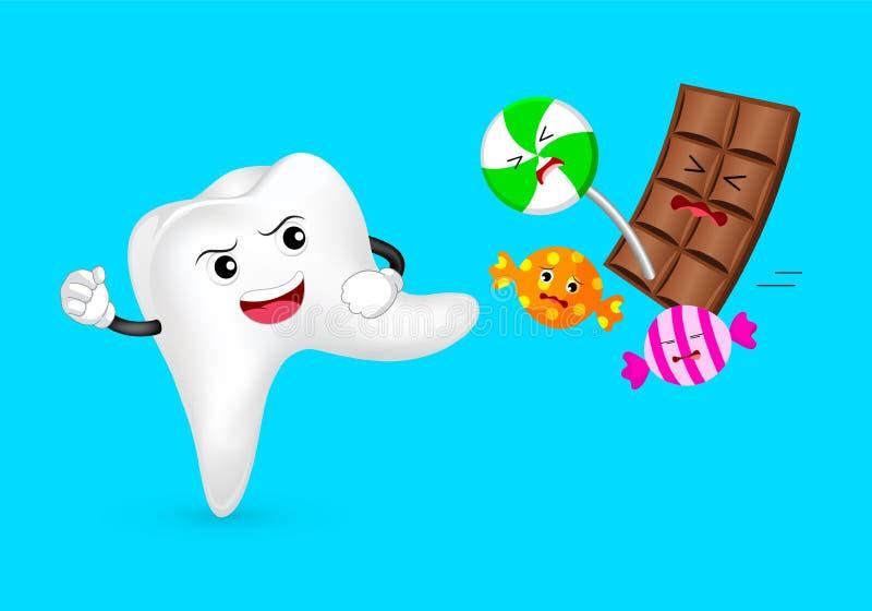 Милый характер зуба мультфильма атакуя нездоровую еду иллюстрация штока