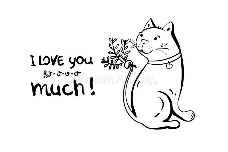 Милый характер кота Текст каллиграфии литерности я люблю u Нарисованная рука, иллюстрация вектора романтичная стиль doodle мультф иллюстрация штока