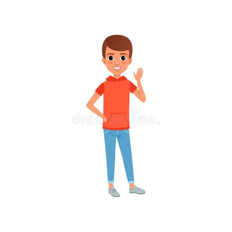 Милый характер мальчика в стильной футболке вскользь одежды с капюшоном с карманн и джинсами Ребенк представляя с усмехаясь сторо бесплатная иллюстрация