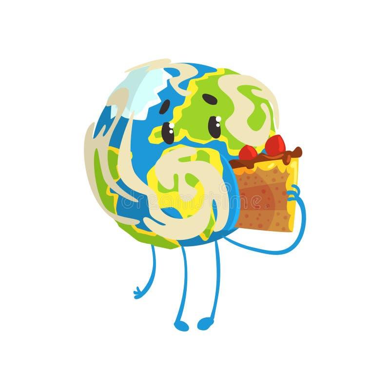 Милый характер планеты земли шаржа есть кусок пирога, смешную иллюстрацию вектора emoji глобуса иллюстрация штока