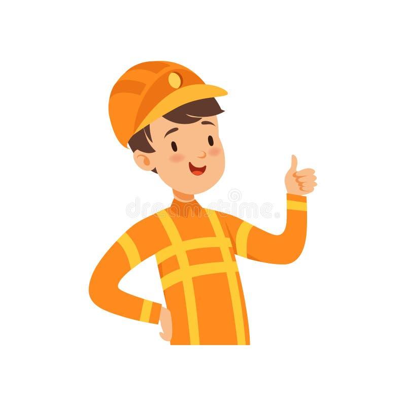 Милый характер пожарного, мальчик в костюме иллюстрации вектора пожарного бесплатная иллюстрация