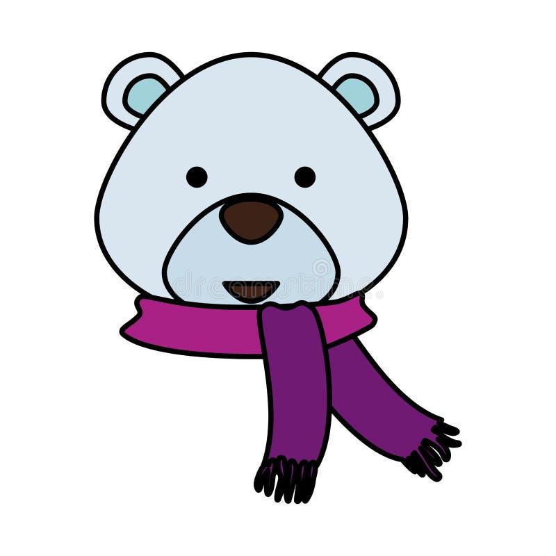 Милый характер рождества полярного медведя главный иллюстрация вектора