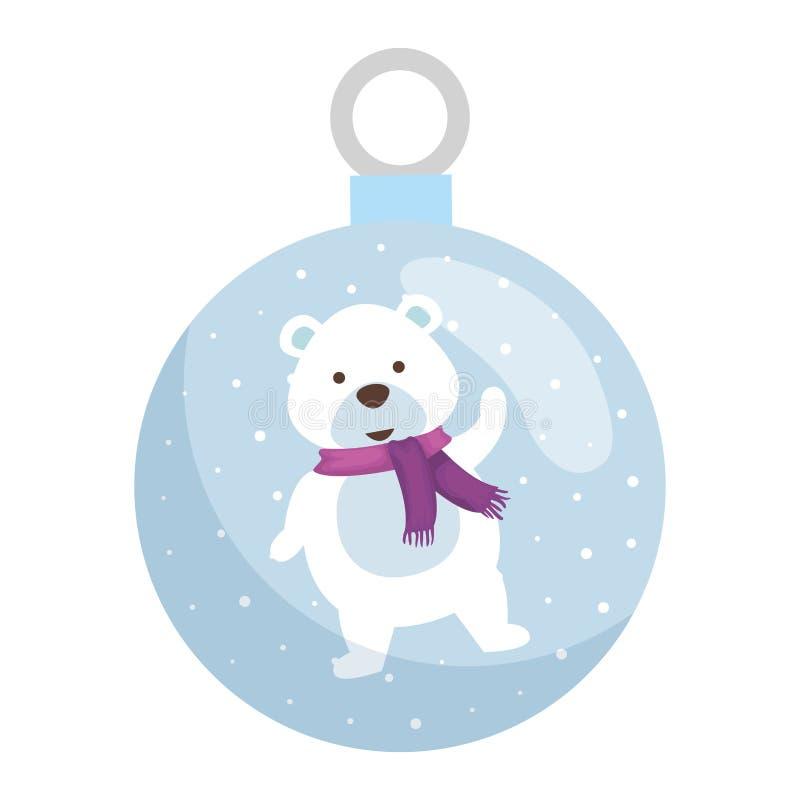 Милый характер рождества полярного медведя иллюстрация вектора