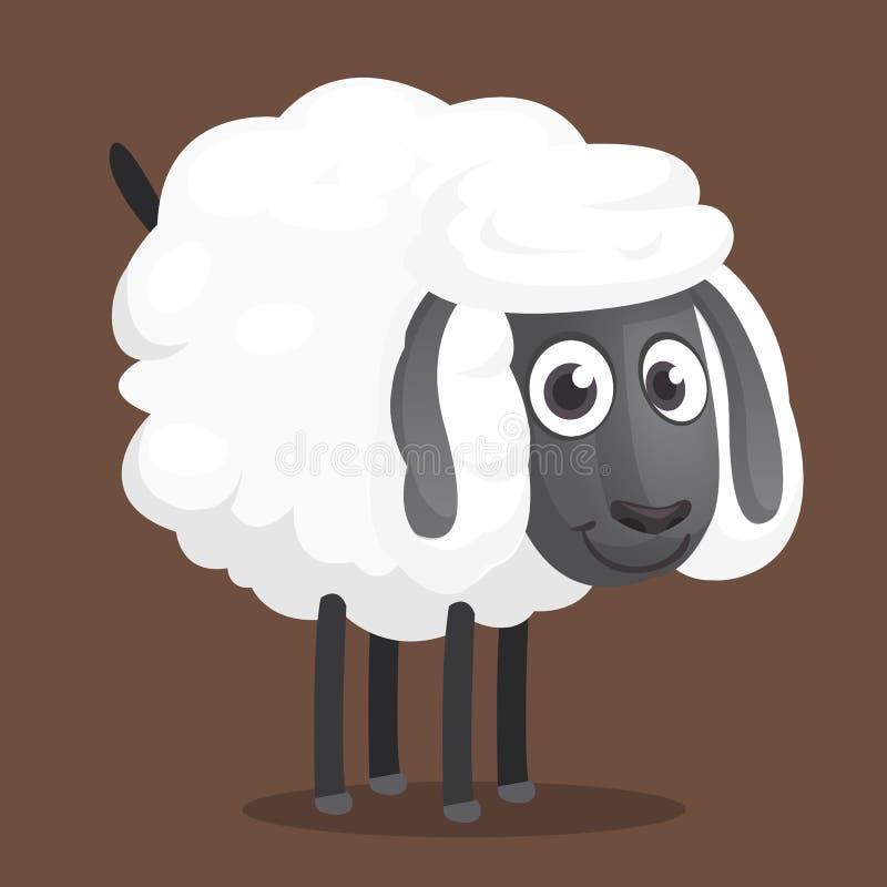 Милый характер талисмана овец шаржа Иллюстрация вектора пушистый подавать овец изолировано бесплатная иллюстрация