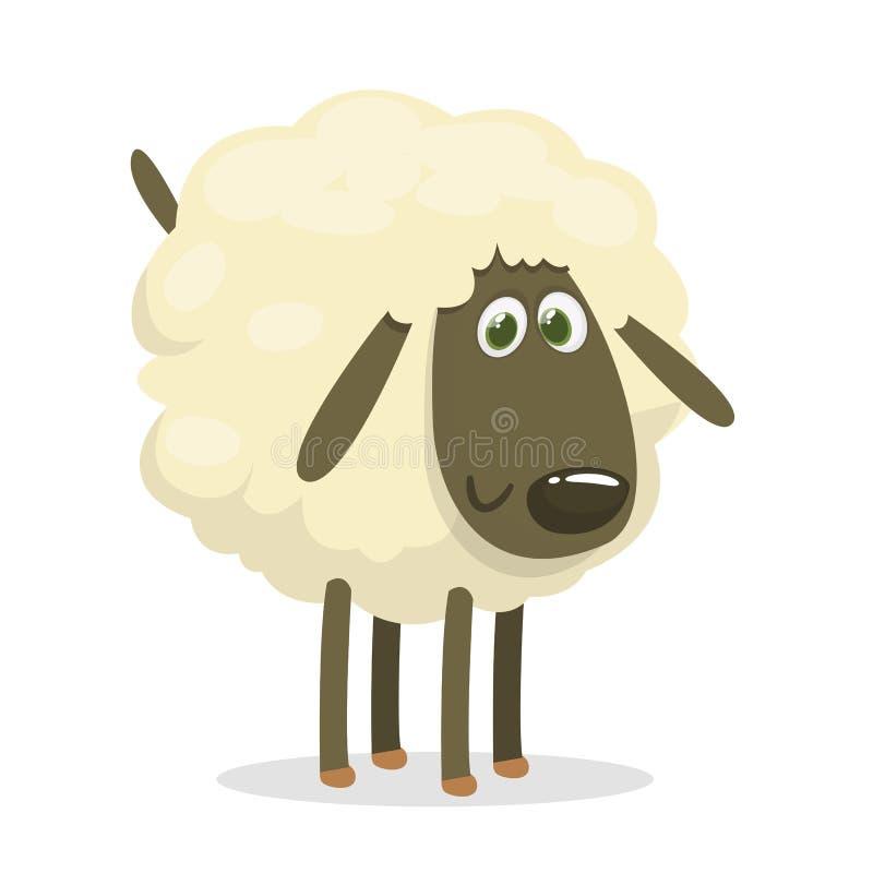 Милый характер талисмана овец шаржа Иллюстрация вектора пушистый подавать овец изолировано иллюстрация штока