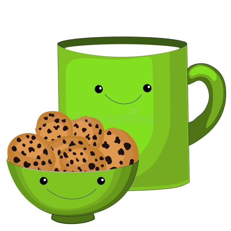 Милый характер чашки чая Сладкий пакетик чая с милыми сторонами Объекты doodle Emoji Милый набор пакетика чая Emoji чашки установ иллюстрация вектора
