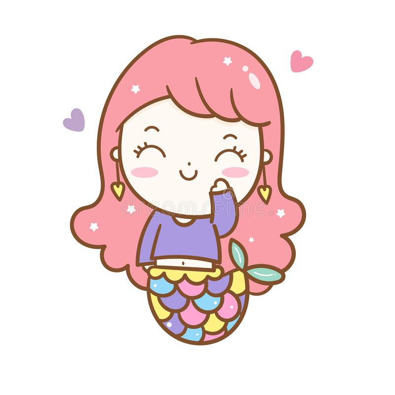 Милый характер Kawaii мультфильма девушки вектора русалки принцессы, украшение питомника иллюстрация штока