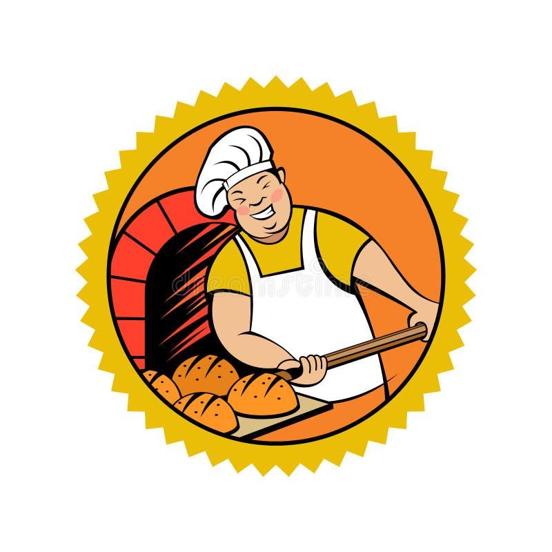 Милый хлебопек принимает хлеб из печи Эмблема хлебопекарни вектора иллюстрация вектора