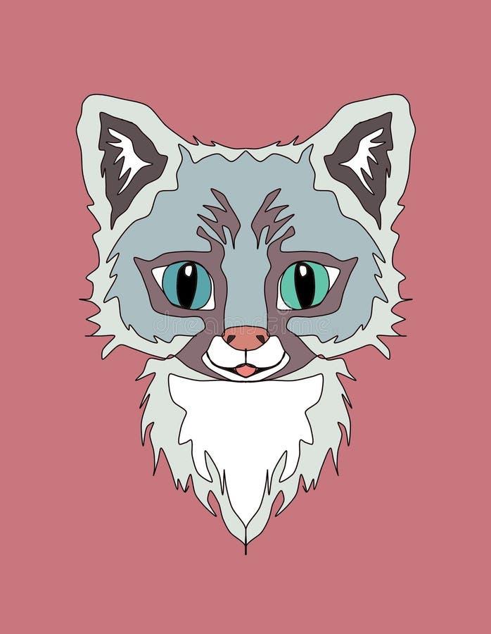 Милый холст applique печати вышивки животных, кот, оформление стены комнаты детей, печать ткани, печать футболки, иллюстрация иллюстрация вектора
