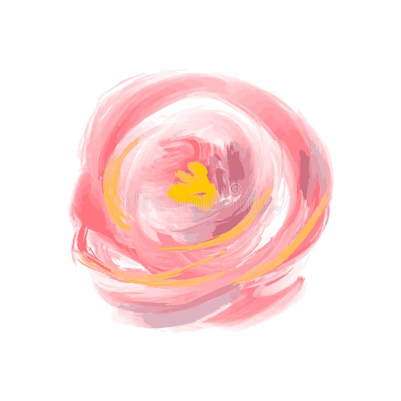 Милый цветок акварели весны поднял вектор Объект изолированный искусством для букета лета иллюстрация вектора