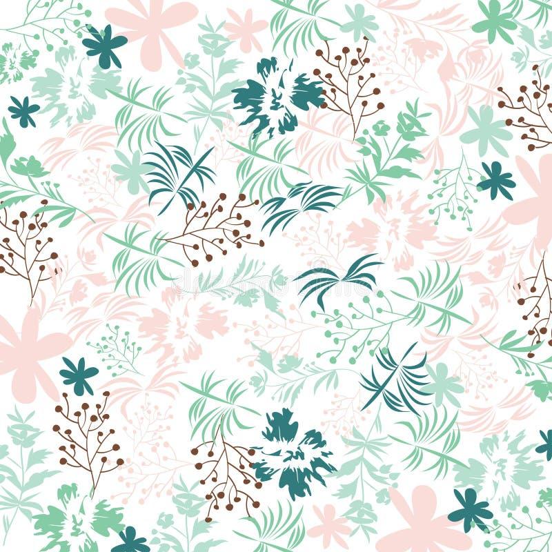 Милый цветочный узор в затрапезном шикарном стиле Предпосылка цветка вектора в свежих цветах бесплатная иллюстрация