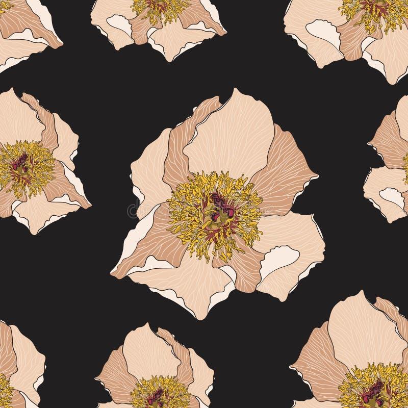 Милый цветочный узор с бежевым цветком пиона безшовный вектор текстуры Элегантный шаблон для печатей моды бесплатная иллюстрация
