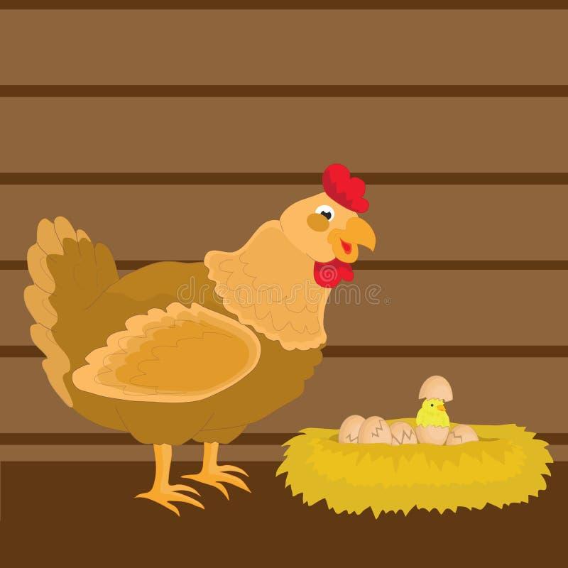 Милый цыпленок и ее цыплята в гнезде сена бесплатная иллюстрация