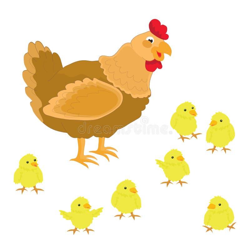 Милый цыпленок и ее цыплята на белой предпосылке иллюстрация вектора