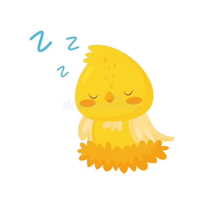 Милый цыпленок спать в гнезде, смешная иллюстрация вектора персонажа из мультфильма птицы на белой предпосылке иллюстрация штока