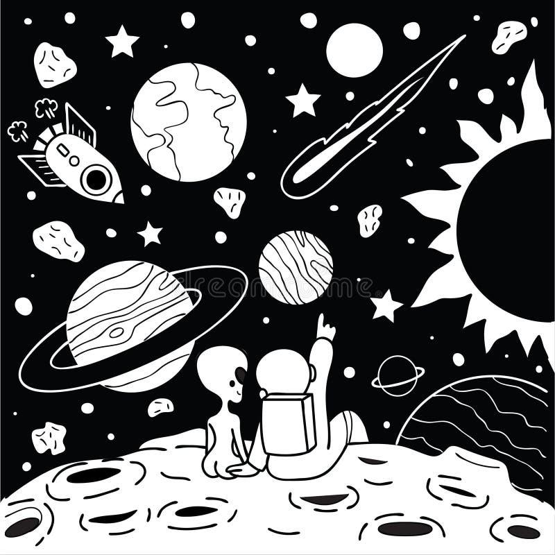 Милый человек космоса имеет романтичное время с девушкой чужеземца для напечатанного тройника и другого элемент дизайна также век иллюстрация штока