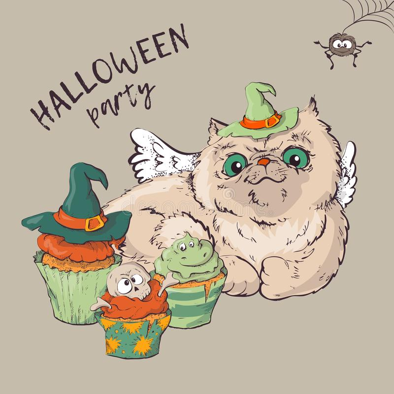 Милый черный котенок и собака нося смешные и причудливые шляпы хеллоуина кладя с загоренной тыквой Джек-o-фонарика бесплатная иллюстрация