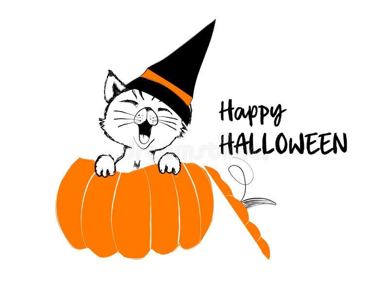 Милый черный кот в оранжевой тыкве на счастливый хеллоуин иллюстрация вектора