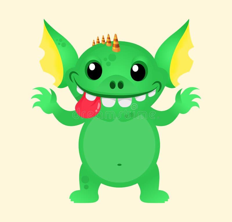 Милый шаблон талисмана вектора чудовища маленьких ребят Gremlin или тролль зеленого цвета хеллоуина Дизайн для печати, украшения  иллюстрация штока