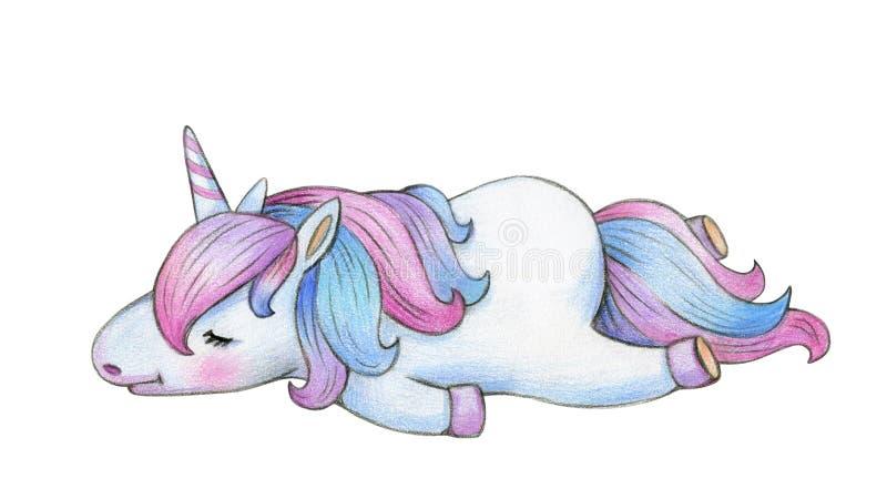 Милый шарж единорога спать бесплатная иллюстрация