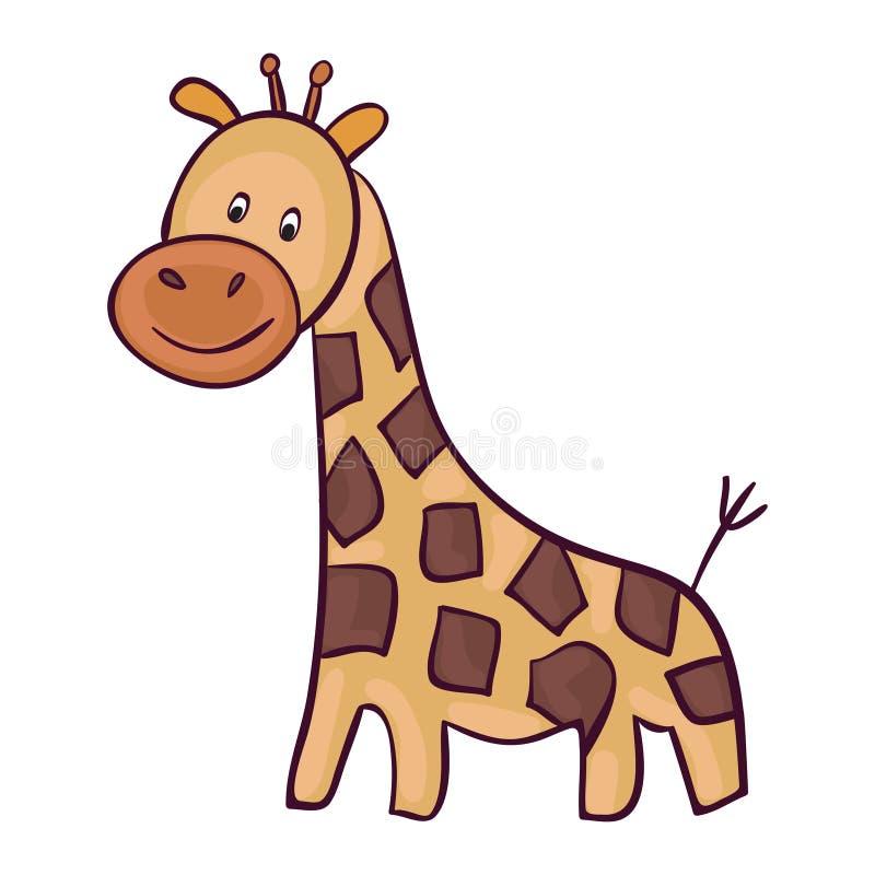 Милый шарж жирафа иллюстрация штока